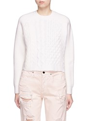 Alexander Wang Stripe Cable Knit Cropped Sweater White