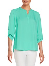 Daniel Rainn Roll Tab Sleeve Blouse Fern