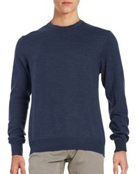 Black Brown Merino Wool Crewneck Sweater Deep Summer Navy Heather