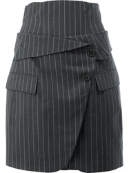 Monse Pinstripe Skirt Women Silk Wool 2 Grey