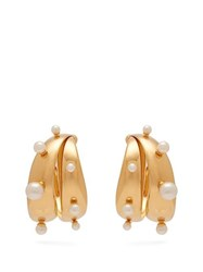 Peter Pilotto Faux Pearl Embellished Earrings Gold