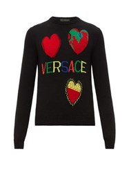 Versace Intarsia Heart Motifs Wool Sweater Multi