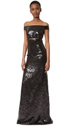 Kaufman Franco Sequin Off The Shoulder Gown Onyx
