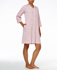 Miss Elaine Gripper Front Printed Knit Robe Rose Print