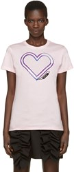 Carven Pink Neon Heart T Shirt