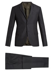 Valentino Notch Lapel Mohair And Wool Blend Suit Grey