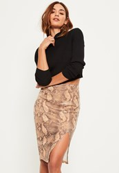 Missguided Brown Split Side Snake Print Sequin Midi Skirt