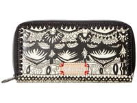 Sakroots Artist Circle Double Zip Wallet Black White One World Wallet Handbags Beige