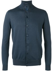 Cruciani Button Front Stand Up Collar Cardigan Blue