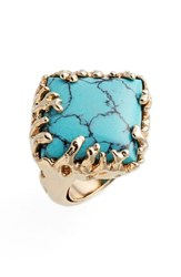 Metal And Stone Women's Coral Set Ring Gold Turquoise
