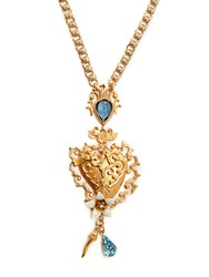 Dolce And Gabbana Heart Embellished Necklace Gold