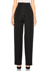 Victoria Beckham Wool Gabardine High Waisted Trousers In Black