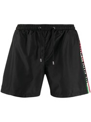 Plein Sport Printed Logo Running Shorts Black