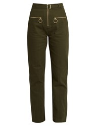Self Portrait Utility Zip Front Twill Trousers Khaki