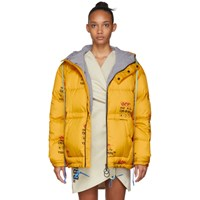 Off White Yellow Down Industrial Zipped Puffer Jacket