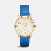 Coach Delancey Gold Tone Sunray Dial Leather Strap Watch Denim