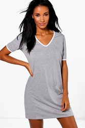Boohoo V Neck Contrast T Shirt Dress Grey