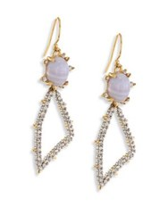 Alexis Bittar Elements Blue Lace Agate And Crystal Geometric Drop Earrings Gold Multi