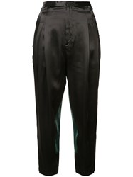 Toga Contrast Drop Crotch Trousers Women Acetate Rayon 34 Black