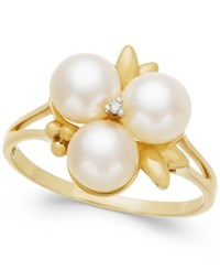 Belle De Mer Cultured Freshwater Pearl 6Mm And Diamond Accent Ring In 14K Gold White