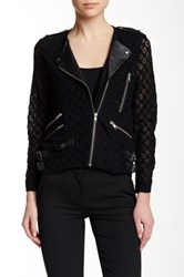 The Kooples Lace And Genuine Leather Asymmetrical Zip Jacket Black