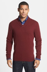 1901 Merino Wool And Cashmere Shawl Collar Sweater Red