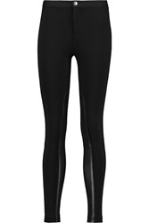 Michael Michael Kors Leather Paneled Stretch Jersey Leggings Black