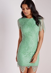 Missguided Lace Short Sleeve Bodycon Dress Mint Green