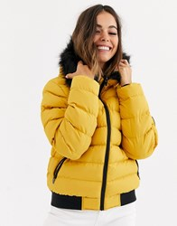 Brave Soul Griffin Puffer Jacket With Faux Fur Trim Hood Yellow