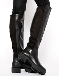 Asos Kidnap Leather Over The Knee High Boots Black