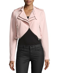 Dex Double Lapel Zip Trim Crop Jacket Pink Blush