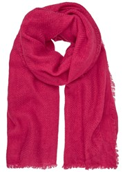 Mint Velvet Cerise Textured Frayed Scarf Dark Pink