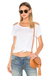 Chaser Deconstructed Cold Shoulder Tee White