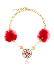 Dolce And Gabbana Majolica Necklace With Fur Pom Poms Metallic