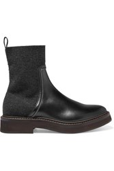 Brunello Cucinelli Bead Embellished Leather And Cashmere Chelsea Boots Black