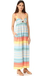 Mara Hoffman Equator Stripe Tie Front Jumpsuit Cream Multi