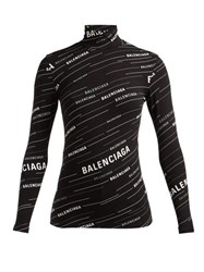 Balenciaga Logo Stripe High Neck Top Black White