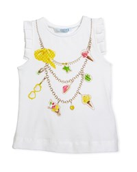 Mayoral Ice Cream Necklace Trompe L'oeil Tee Size 3 7 Yellow