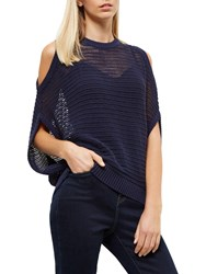 Jaeger Lace Stitch Cut Out Knitted Top Navy