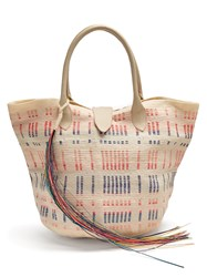 Sophie Anderson Keiko Woven Toquilla Tote White Pink