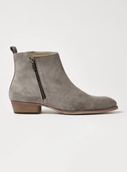Topman Grey Suede South Zip Boots