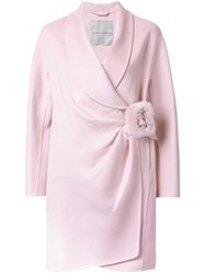 Ermanno Scervino Wrapped Buckled Mid Coat Pink Purple