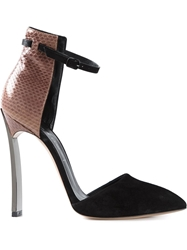 Casadei Ankle Strap Pumps With A Silver Tone Heel Black
