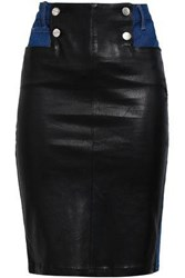 Each X Other Button Detailed Leather Paneled Denim Pencil Skirt Mid Denim