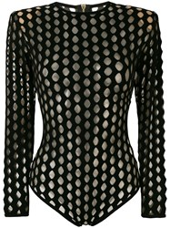 Balmain Perforated Bodysuit Black