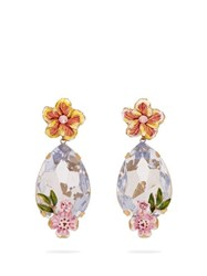 Dolce And Gabbana Crystal And Floral Embellished Earrings Blue