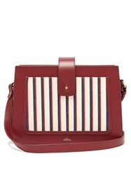 A.P.C. Albane Canvas And Leather Cross Body Bag Burgundy Multi