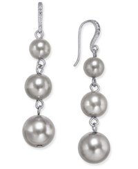Charter Club Silver Tone Round Beaded Ombre Drop Earrings Only At Macy's