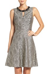 London Times Women's Embellished Jacquard Fit And Flare Dress