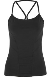 Bodyism I Am Starry Perforated Printed Stretch Jersey Top Black